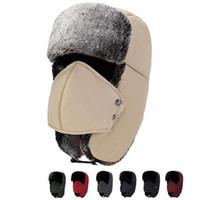 귀 플랩 Ushanka 억만 장자 러시아어 모자 겨울 야외 따뜻한 모자 유니섹스 스키 스포츠 방풍 모자 겨울 사냥꾼 모자 7 색 DH0351