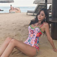 Kore Stili Baskı One Piece Mayo Kadınlar Tasarımcı Push Up Banyo Suit 2020 Kadın Seksi Mayo Tek parça Yastıklı Plaj Giyim Pembe parça bikini