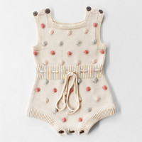 Cute Baby Girl Onesies Tank Top Spring Baby Girl Clothes Algodón Sin Mangas Crochet Toddler Girl Knitted Romper 3 colores para elegir 18112702