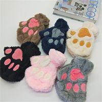 Sıcak Kış erkek ve kadın güzel kedi pençesi eldiven Peluş Ayı pençe Yarım Parmak Eldiven karikatür güzel sıcak parmaksız eldivenler T2C5170