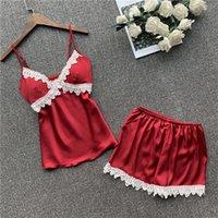 Sleepwear das Mulheres Foply's Sexy Satin Silk Lace Top e Shorts V-Neck Strap mangas Pijama Set Sling Verão Homewear
