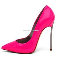 ALMUDENA Sexy Damen Bestseller Rose Red Lackleder Pumps Dünne Metall Ferse Fuchsia Bankett Party Schuhe Flacher Slip-On Schuh