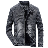 Vintage Denim Jackets Men Slim Fit Solid Color Casual Mens J...