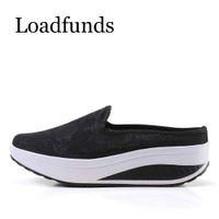 Loadfunds 2018 Summer Women Wedges Zapatos de plataforma para mujer Resbalón en columpios Zapatos Casual Mujer Mocasín Zapatos Tacones Zapatilla