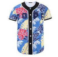 2020 الصيف ارتداء الرجال البيسبول الفانيلة قصيرة الأكمام 3d الأزهار طباعة الأزياء قاعدة لاعب جيرسي البيسبول قميص قمم زر