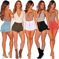 2Pcs Womens Denim Shorts Button Skin Tight Sexy Shorts Summe...