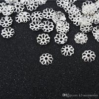 الشحن مجانا! 2 ألوان الفضة / الذهب مطلي زهرة قبعات فاصل لنتائج مجوهرات الخرز
