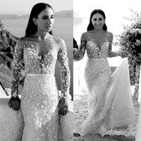 2019 Gorgeous Mermaid Wedding Dresses Lace Applique Long Sle...