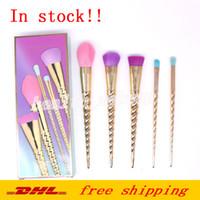 Pinceaux de maquillage ensembles cosmétiques pinceau 5 pcs couleurs vives or rose spirale tige maquillage outils de la vis brosse boîte de contour DHL livraison gratuite