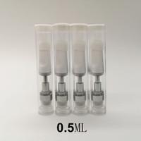 TH205 Weiße Keramikkartuschen 0.5ml 0,8 ml Carts 1ml Leerer Vape Stift dicker Ölglas-Tank 510 Gewindezerstäuber E-Zigaretten PVC-Verpackung