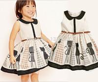 2015 Prinzessin-Baby-Kind-Mädchen-Katzen-Gürtel Partei Tulle Ein-piees Kleid Kleider 2-7Y