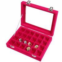 OOA7426-14 24 Rejillas de terciopelo joyería caja 7 colores Anillos Pendientes Collares titular del maquillaje organizador del caso de almacenaje de la joyería caja 10pcs