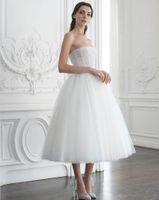Weiße elegante Prinzessin Promkleider Paolo Sebastian Kurze Abendkleider Strapless Ausschnitt A Line vestidos de fiesta Tulle-formales Kleid