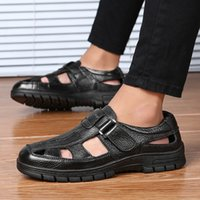 men fashion large size breathable cow leather sandals outdoo...