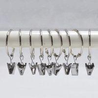 Anillos de cortina de la galjanoplastia Clip Ducha Baño Anillos de cortina Clip Fácil Glide Hooks Clips de barra de cortina Inicio Cortinas Accesorios 2.5 cm DBC DH0906