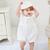 신생아 0-24M 여자 드레스 세트 솔리드 파티 드레스 돌아 가기 버튼 흰 모자와 세례 가운 세례 빈티지 드레스 아기 의상