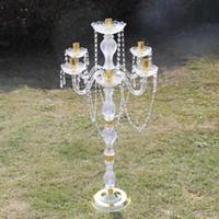 Novo 90 cm Altura Acrílico 5 Arms Metal Candelabres com Pingentes de Cristal Casamento Candle Centerpiece Party Decor