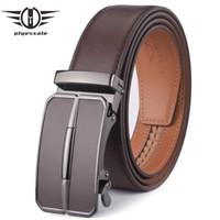 Plyesxale الرجال حزام جلد 2018 التلقائي مشبك الرجال حزام لالجينز أزياء العلامة التجارية براون رجل أحزمة فاخرة جلد طبيعي G43 Y19051803