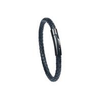2019 تصميم جديد المجوهرات الإسورة كلاسيكي أسود جلد طبيعي أساور أعلى جودة بسيطة الفولاذ المقاوم للصدأ زر مجوهرات للرجال