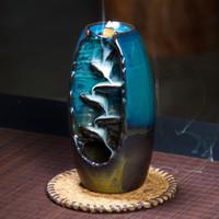 Ywbeyond montanha rio artesanato titular incenso de cerâmica refluxo cachoeira fumaça queimador de incenso incensário titular presente da mãe decoração da sua casa