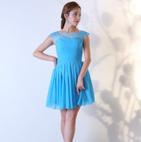 Short Mini Bridesmaid Dresses Chiffon Jewel Cap Sleeves Empi...