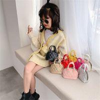 8 цветных детей раковины сумка корейский стиль тиснение шаблон сумочка младенца малыш девочек по Crossbody мини цепи раковины сумки сумки кошелька детская сумка jj476