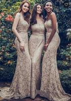 2020 Long Mermaid Sweetheart Full Lace Bridesmaid Dresses Sleeveless Beach Long Wedding Party Guest Women Dresses