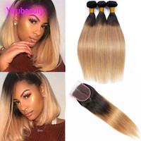 Extensiones de cabello virgen brasileño 3 paquetes con cierre de encaje de 4x4 Cabello humano recto 4 Piezas / lote 1b 27 Extensiones de cabello de Ombre 1b / 27