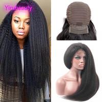 Indian crudo virgen del cabello humano sin procesar 9A 13x4 Pelucas delanteras de cordones Kinky Straight Yirubeauty Lacec Wig Color natural 8-30 pulgadas