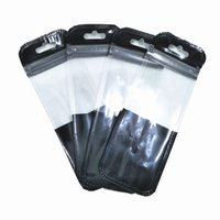 100 stks Clear Black Plastic Rits Package Tassen met Hang Gat DIY Crafts Data Line Opslag Pouch Self Seal Grocery Zip Packing Pouches
