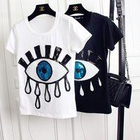 2020 neue Art und Weise Frauen-Sommer-T-Shirt Pailletteentwurf Kurzarm Rundhals T-Shirt für Frauen-Schwarz-Weiß