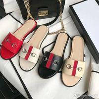 Summer de la nueva zapatillas de playa de las mujeres diseñador de moda perezosos planos fracasos de cuero Señora de la historieta zapatillas de lujo El metal deslizadores de señoras del tamaño 35-42 US11