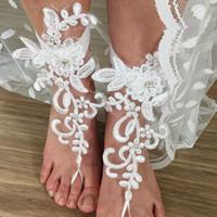 Hot Beach Lace Fußkettchen 2019 Sandbeach Barfuß Schmuck Günstige Stretch Bein Armbänder Für Hochzeit Brautjungfer Fußschmuck