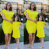 Mãe e filha roupas família combinando Outfit mamãe Me vestidos menina Sólidos saia Slim Bebês Meninas Verão Crianças Roupa QZZW118
