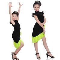 مرحلة ارتداء الفتيات اللاتينية الصلصا تانغو الرقص اللباس الاطفال ballroom الأسود samba رومبا زي الطفل هامش تنورة