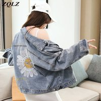 Zqlz осенняя куртка женщины 2020 вышивка цветок Винтаж черный Жан пальто Mujer повседневная Свободная Весна короткие джинсы пальто женское