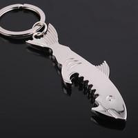 상어 키 체인 오프너 창조적 인 휴대용 여행 맥주 병 오프너 주방 금속 열쇠 고리 바 도구 LJJA3553-14