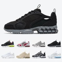 Stüssy x Nike Air Zoom Spiridon Caged Black Grey spiridon Caged 2 Mens running shoes Sand Lemon Venom Cardinal Red Metallic Silver Pure Platinum men women sports sneakers 36-45