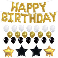 26pcs / Set globos del feliz cumpleaños del oro negro de látex hoja hincha para Suministros Cumpleaños de adultos Decoración de fiesta