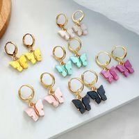 Mode Frauen Schmetterling Lange Tropfen Ohrringe Tier Ohrstecker Ohrringe Süße Bunte Acryl Ohrringe Aussage Für Frauen Partei Schmuck