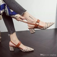 Korean version of the lattice pointed high heels female thic...