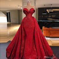 Kırmızı Overskirts Gelinlik Modelleri Parlak Aplikler Sweetheart Denizkızı Abiye Geri Fermuar vestidos de novia Artı boyutu Ünlü Partisi Abiye