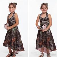 새로운 저렴한 고삐 카모 꽃의 소녀 드레스 (High) 저 (Low) 야외 나라 여자 아이 웨딩 파티 착용 하이 - 보라 여름