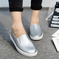 Autumn Women Leather Loafers Fashion Ballet Flats Sliver Whi...