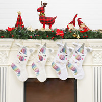 Mignon Licorne Cadeau De Noël Chaussettes Bande Dessinée Enfants De Noël Cadeau De Bonbons Sac De Noël ree Suspendu Décoration de La Maison TTA1446