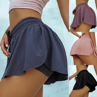 Las nuevas mujeres cómodo con cordón Falda plisada falda de tenis sólido incorporado en el Deporte Atlético Yoga entrenamiento cortos de la mujer con falda pantalón corto