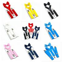 Bambini Bretelle Bow Tie Set Ragazzi Ragazze bretelle elastiche Y Bretelle con cinturino Retro Papillon cinghia di modo dei bambini della clip del bambino Y-back PY1445
