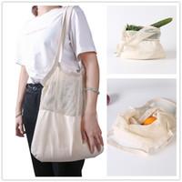 Moda Yeniden kullanılabilir Dize Alışveriş çantası Meyve Sebze Bakkal Çanta Taşınabilir Depolama Çanta Shopper Bez Mesh Net Dokuma Pamuk Saklama Poşetleri A468