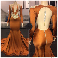 Sparkly Mermaid 2020 Prom Dresses Long Sleeve Lace Applique Backless V-neck Brown African Evening Gowns Pageant Dress