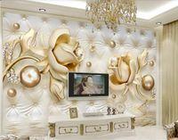 классическая картина обои Пользовательские обои 3d стерео золотой розы мягкий мешок круглый шарик ювелирных wallppaers ТВ фоне стены